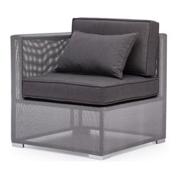 Zuo - Clearwater Bay Outdoor Corner Chair - The Clearwater Bay Outdoor Collection is sleek and sophisticated with its clean lines and sexy silhouettes.  The unique gauze-like gray fabric wraps the light-weight aluminum frame keeping the look clean and modern.  Put this gray collection in your outdoor space and add black and white accents for a more monochromatic, contemporary look or add pops of color with throw pillows in any hue you can dream of for a more playful space.  Regardless of the look you aspire to achieve, let the Clearwater Bay Outdoor Corner Chair complete your patio or pool-side space.  The cushions are included and fabrics are water resistant, so let this all-weather collection set the tone for summer in your backyard.