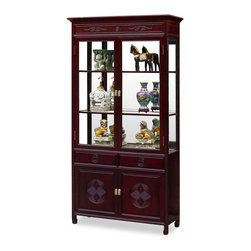 China Furniture and Arts - 40in Rosewood Longevity Motif China Cabinet - A grand curio cabinet to display your treasured collectibles. Hand carved longevity emblems decorate the entire cabinet. Made of solid rosewood with traditional joinery techniques by artisans in China. Mirror, lights, and three adjustable shelves for the upper cabinet. Two doors and two drawers in the lower portion providing ample storage space for your convenience. Dark cherry finish. Decorations not included.