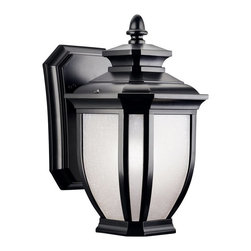 KICHLER - KICHLER Salisbury Transitional Outdoor Wall Sconce X-KB9309 - Modern lines compliment the timeless lantern shape of this Kichler Lighting outdoor wall sconce. From the Salisbury Collection, it features a crisp Painted Black finish that is accentuated by clean white linen glass panels.