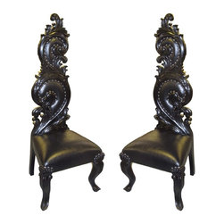 Set of Two Swirl Chairs, Black/Black - Set of 2 Swirl Chairs Set.  Made of solid mahogany wood, hand crafted,  and upholstered with bonded leather and stained black. Made in Indonesia.
