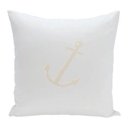 e by design - Anchor Blue and Off-White 18-Inch Cotton Decorative Pillow - - Decorate and personalize your home with coastal cotton pillows that embody color and style from e by design  - Fill Material: Synthetic down  - Closure: Concealed Zipper  - Care Instructions: Spot clean recommended  - Made in USA e by design - CPO-GH11-Anchor_Blue_Oatmeal-18