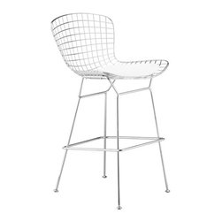 Lemoderno - Fine Mod Imports  Wire Counter Height Chair, White - Wire stool chair with choice of Black or White leatherette seat. Leatherette seat pad with polyurethane foam    Assembly Required