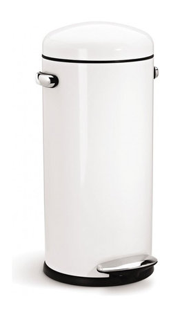 simplehuman - 30 Litre Retro Step Can, White Steel - Shaped like a bullet — and as tough as one, too — this steel trash can features a domed lid and an extra-wide pedal for easy operation. Special patented technology ensures a smooth, silent closing every time.