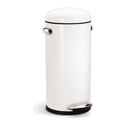 simplehuman - 30 Litre Retro Step Can, White Steel - Shaped like