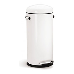 simplehuman - Retro Step Can, White Steel - Shaped like a bullet — and as tough as one, too — this steel trash can features a domed lid and an extra-wide pedal for easy operation. Special patented technology ensures a smooth, silent closing every time.
