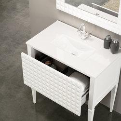 "Macral Diamond 32"" single bathroom vanity. white. - Macral Diamond 24"" floor vanity bathroom. white."