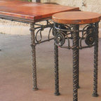 Medallion iron bases with copper tops -