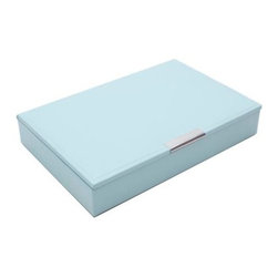 Wolf Designs - Stacking Jewelry Tray with Lid - Aqua, Medium - A vibrant, colorful combination of jewelry and accessory storage trays. This Stacking Jewelry Tray with Lid in aqua color have contrast fabric lined interiors which are perfect for organizing all of your jewelry and accessories.