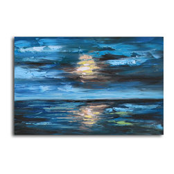 """Omax Decor - Setting Sun over Undulating Seas Hand painted oil canvas - Overall size: 24"""" x 36"""". Enjoy a 100% Hand Painted Wall Art made with oil paints on canvas stretched over a 1"""" thick wooden frame. The painting is professionally hand-stretched and ready to hang out of the box. With each purchase of our art you receive a one of a kind piece due to the handcrafted nature of the product."""