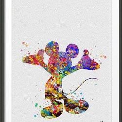 KidsPlayHome - Kids Wall Art Decor Fine Signed Print Mickey Mouse - Fine Art Print Handmade item