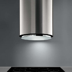 """Designer Range Hoods - """"Ellipso"""" Series - Designer Italian range hood with elliptical shape, mirror-polished accent panel, smooth fluorescent lighting, and futuristic Perimeter Suction filter system. Powerful 940-CFM blower, halogen lighting, electronic controls, dishwasher-safe filters. View full specifications, stock status, and pricing - visit www.futurofuturo.com for more info, or call 1-800-230-3565."""