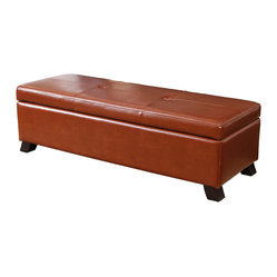 Great Deal Furniture - Canal Storage Ottoman Bench - Now everyone can put their feet up! Upholstered with rich, saddle brown leather, this classic ottoman is the perfect complement for larger sofas. It features a simple, two-tufted design and opens to accommodate ample storage inside.