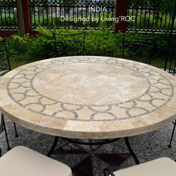 "PATIO OUTDOOR ROUND MOSAIC MARBLE TABLE STONE INDIA 49"" & 63"" - Reference: OT910-12-US+OTB2-12-US"