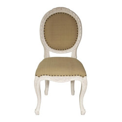 Noir - Noir - Isabelle Side Chair, White Wash - White Washed Mahogany Wood, with Olive Cotton