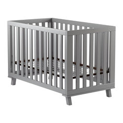 Gray Low-Rise Crib, Gray Frame and Gray Base