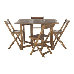 Safavieh - Safavieh Arvin Teak Finish Brown Acacia Wood 5-piece Outdoor Dining Table Set - An ingenious space saver,Arvin outdoor dining table and chair set is designed for gracious outdoor living.