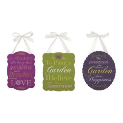 "IMAX - Garden Inspired Plaques - Set of 3 - With inspirational garden themed proverbs, you don't need a green thumb to appreciate these darling wall plaques. Item Dimensions: (8-10-10""h x 10-8-8""w x 4-4-.75"")"