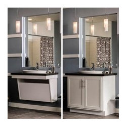 Aristokraft Adaptable Wall Vanity Sink Base - Aristokraft's new #Adaptable Wall Vanity Sink Base is ideal for bathrooms that may need to convert from #ADA compliant to conventional bath. Or back again.