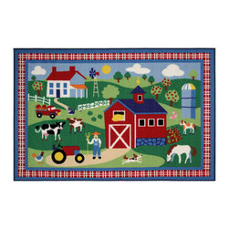"Fun Rugs - Country Farm Olive Kids Collection Rug - 19"" x 29"" - This colorful rug has country farm design Collection Name: Olive Kids; 100% Nylon Dimensions: 19"" x 29"""