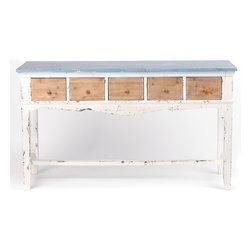 Trinidad Distressed Blue & White Console - Console measures 56L x 19W x 32H in.