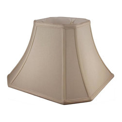 American Heritage Shades - Polyester Lampshade in Taupe w Trim (15 in. Diam x 13.25 in. H) - Choose Size: 15 in. Diam x 13.25 in. HLampshade Types. Shantung faux silk with off-white fabric liner. Hand made. Matching top, bottom and vertical trim. Corner cut square bell shape. Enhances lamp and room decor. Made from fabric. Fitter in brass color. Made in USA. No assembly required