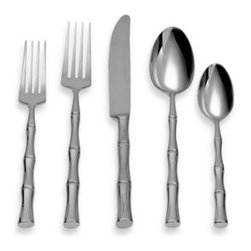 Michael Lloyd - Michael Lloyd Bamboo Flatware 5-Piece Place Setting - Stainless steel flatware has a beautiful bamboo-inspired design. With tapered shapes, flatware is comfortable to use and lends an elegant look to your table setting.