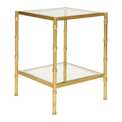 "Worlds Away - Worlds Away Bamboo Side Table-Available in Two Different Colors, Gold Leaf - This lovely side table features a bamboo style frame in Gold Leaf or Nickel Plated and has clear glass shelves. The table measures 20""W X 20""D X 26""H."