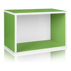 Way Basics - Rectangle Plus, Green - Made from the same sturdy zBoard, the Rectangle will make your life easier as you organize your garage, closet or kid's playroom! Mix and match to create your own bookshelf from a combination of Storage Cubes and Rectangles. Make storage personal again with this latest edition to the collection.