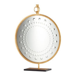 Cyan Design - Cyan Design Beverly Mirror on Stand - From the Beverly Collection, this Cyan Design mirror on stand features a simple rounded mirror that hangs from a single ring. The mirror features rounded accents in a circular pattern around the face, while a Gold Leaf finish throughout provides a classic finishing touch.