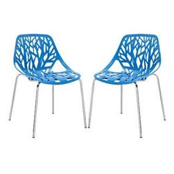 """LexMod - Stencil Dining Side Chair Set of 2 in Blue - Stencil Dining Side Chair Set of 2 in Blue - Find your inner catalyst with this activating dining chair. Watch as a tree is carefully depicted in Stencil's telling journey between enigmatic forests and song-filled remembrances. Let sunlight filter through and nurture experiences of enduring light. Set Includes: Two - Stencil Chair Organic leafy forest motif, Either indoor or outdoor use, Modern dining or accent chair, Chrome plated steel base, Molded plastic seat, Stackable Overall Product Dimensions: 21""""L x 21""""W x 31""""H Seat Height: 16.5""""H - Mid Century Modern Furniture."""