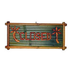 Bamboo54 - Sign Bamboo Open/Close - The Sign Bamboo Open/Close is a great addition above your bar or business door. This sign reads open on one side and closed on the other. It is crafted out of real bamboo wood and palm tree designs accent each side. The perfect wall or door piece for anyone with a love for island culture aesthetics. So whether you're open or closed, say it with a bamboo and this Small Bamboo Open and Closed sign by Bamboo 54.