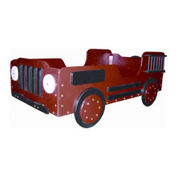 """Just Kids Stuff - Fire Truck Wood Toddler Bed - Every firefighter needs a good night's rest. There's no better place to sleep than in their own fire truck as they race through the night traffic to slumberland. Features: -Toddler Bed.-Handmade from baltic birch laminate and other solid woods.-Safety sides keep little one in bed.-Recommended for kids 18 months to 4 years old.-Distressed: No.-Frame Material: Baltic birch laminate / Solid woods.-Country of Manufacture: United States.Dimensions: -Overall Height - Top to Bottom: 36"""".-Overall Width - Side to Side: 29"""".-Overall Depth - Front to Back: 53"""".-Overall Product Weight: 65 lbs.Assembly: -Assembly required."""