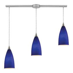 Elk Lighting - Vesta 3-Light Linear Pendant in Royal Blue and Satin Nickel - Vesta 3-light linear pendant in royal blue in satin nickel