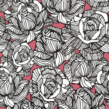 Zinc Rose Wallpaper - This bold floral wallpaper in pink and black is perfect for an accent wall.