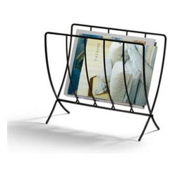 "Spectrum Diversified Design - Seville Magazine Rack - Keep your home and office organized with the Seville Magazine Rack. This slim rack conveniently stores all of your standard size magazines and periodicals. Made of sturdy steel its clean and simple design will add a modern touch to your home.Black CareWipe with a damp cloth and towel dry.FeaturesAn attractive way to store magazines and periodicalsSlim design saves spaceOpen design allows you to easily view what is stored in the basketSturdy steel construction Product SpecificationsHeight:14""Width:9 1/4""Depth:15 1/4"""