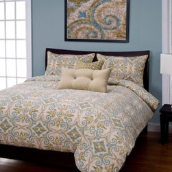 Siscovers - Sumatra Citron Powder Blue and Olive Green Six Piece Queen Duvet Set - - A Batik pattern with Moorish influence  - Set Includes: Duvet - 94x98, Two Queen Shams - 30x20, One Decorative Pillow - 16x16, One Decorative Pillow - 26x14  - Workmanship and materials for the life of the product. SIScovers cannot be responsible for normal fabric wear, sun damage, or damage caused by misuse  - Reversible Duvet and Shams  - Care Instructions: Machine Wash  - Made in USA of Fabric made in China Siscovers - SUCI-XDUQN6