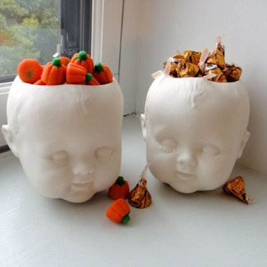 Porcelain Baby Doll Head Candy Dish/Planter and Saucer -