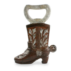 Cowboy Boot Bottle Opener - Invite a little country into your kitchen with the Cowboy Boot opener. Lovely and sturdy cast iron with a rust finish gives this boot its charm. Perfect for your outdoor bbq area or as a small gift, this bottle opener brings a little touch of fun to any Summer shindig.