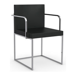 Calligaris - Even Plus Arm Chair, Chrome Frame, Black, Set of 2 - Chromed Steel Frame