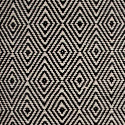 Hook & Loom Rug Company - Ashford Black/Natural Rug Swatch - Very eco-friendly rug, hand-woven with yarns spun from 100% recycled fiber.  Color comes from the original textiles, so no dyes are used in the making of this rug.  Made in India.