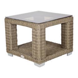 Palisades End Table - The Palisades End Table is topped beautifully with frosted tempered glass to accommodate all your entertaining needs. Enjoy the extra storage with the bottom shelf to accommodate your favorite accessories used in your outdoor space.