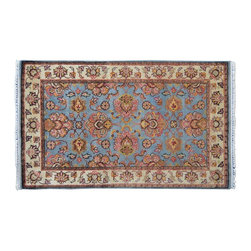 Silver Oriental Rug, 100% Wool Rajasthan 3'X5' Hand Knotted Rug SH9096 - Agra & Rajasthan Hand Knotted Rugs have Persian inspired floral motifs.  They are hand knotted from India and usually consists of 100% Wool.  The colors usually consists of Blacks, Deep Reds, Browns, & Greens.