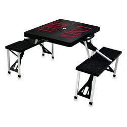 "Picnic Time - Unievrsity of Nevada Las Vegas Picnic Table in Black - Picnic Time's portable Picnic Table is a compact fold-out table with bench seats for four that you can take anywhere. The legs and seats fold into the table when collapsed so the item is easy to store and transport. It has a maximum weight capacity of 250 lbs. per seat and 20 lbs. for the table. The seats are molded polypropylene with a basket weave pattern in the same color as the ABS plastic table top. The frame is aluminum alloy for durability. The Picnic Table is ideal for outdoor or indoor use, whenever you need an extra table and seats. It includes a hole in the center of the table to accommodate a standard sized beach umbrella (having a pole that is 1.25"" diameter or less). Pair it up with Picnic Time's multi-colored stripe Umbrella (812-00-996) or solid colored Umbrella 5.5 (822-00) in red, green, blue or black, sold separately.; College Name: Unievrsity of Nevada Las Vegas; Mascot: Rebels; Decoration: Digital Print"