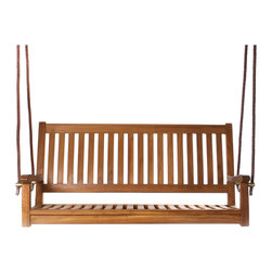 All Things Cedar - All Things Cedar TS50 Teak Porch Swing - Knock Down Design  Gently Sloped Seat  Curved Lumbar Support    Our teak swing comes complete with 14' heavy duty rope on each side and Brass fittings    Dimensions:   54 x 22 x 26 in. (w x d x h)  Swing Cushions  Sold Separately