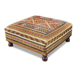 Kathy Kuo Home - Rae Plains Southwestern Rustic Kilim Square Coffee Table Ottoman - Don't settle for a plain old wooden coffee table. Instead spice your room up with some Southwestern flair by opting for this hand-woven kilim square ottoman. Place some lacquered trays on top, add a candle and some magazines and you're good to go.