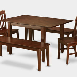 """East West Furniture - 5Pc Picasso Dining Set with 2 Norfolk Wood Seat Chairs and 2 Capri Benches - 5Pc Picasso Dining Table with 2 Norfolk Wood Seat Chairs and 2 51-in Long Benches in Mahogany Finish; These Picasso kitchen sets are beautifully crafted and rich with a mahogany color.; This sleek, yet traditional dinette set contains no plastic, which makes it efficient and environmentally friendly.; The Picasso table & chairs each have a glossy finish, complete with subtle, perfectly beveled edges.; These dinette sets make a cozy addition to any kitchen or conventional dining room and provide seating for up to six people.; Choose between wood and microfiber upholstered seats depending on which table & chairs set fits your ktichen or dining room style.; Weight: 153 lbs; Dimensions: Table: 48 - 60""""L x 32""""W x 30""""H; Chair: 18""""L x 17""""W x 36.5""""H; Bench: 51""""L x 15""""W x 17.75""""H"""