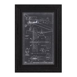 Bassett Mirror Company - Bassett Mirror Company Aeronautic Blueprint I Framed Art - Aeronautic Blueprint I Framed Art by Bassett Mirror Company Framed Art (1)