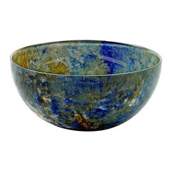 Hand-Crafted Glass Bowl, Large, Ocean Breeze - These hand-painted bowls are in our Ocean Breeze line with colors of blues, sandy yellow, and a touch of white. Reminiscent of the ocean. Perfect for your serving needs.