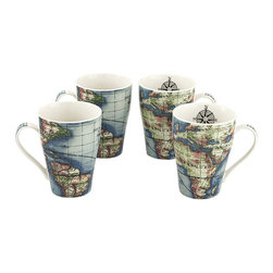 Cardew Design - Globe Bone China Mug - Set of Four - Perfect for tea lovers of all ages, this charming set serves up Earl Grey with a dash of whimsy. Featuring very fine bone china construction, they remain super sturdy and easy to clean. �� Includes four mugs Holds 15 oz. Porcelain Hand wash Imported