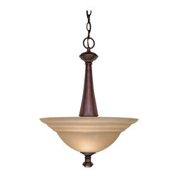 Old Bronze Energy Star Pendant/Chandelier With Amber Water Glass - Condition: New - in box